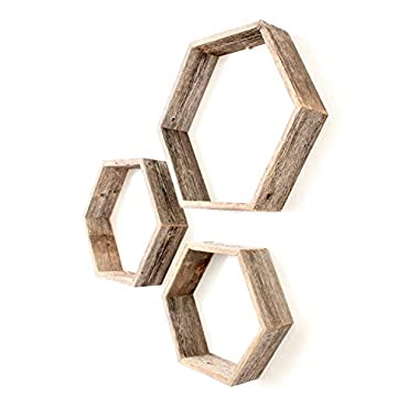 BarnwoodUSA Rustic Wood Hexagon Shelves (Set of 3) - 100 Percent Reclaimed Wood, Weathered Gray