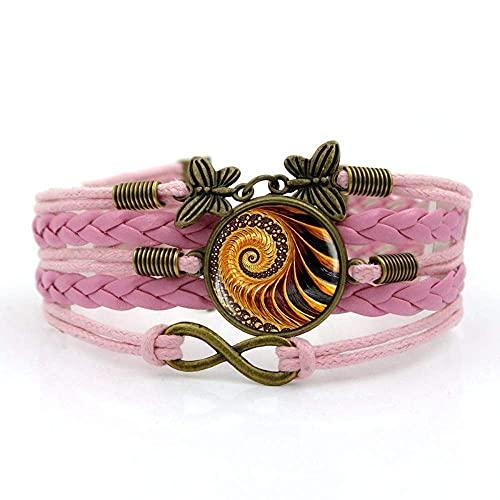 Pulseira de tecido JUNWEN, corda rosa Fibonacci arte em espiral, pulseira de pedras preciosas do tempo, combinação de vidro entrelaçadas à mão, bijuteria, moda feminina estilo europeu e americano, joias, código de mercadoria