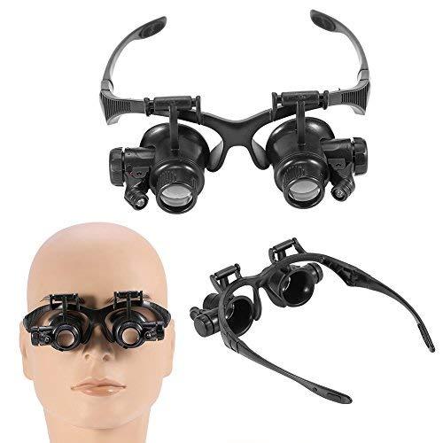 LED Lupenbrille mit licht, Verstellbarem LED Licht Kopflupe Stirnlupe für Elektriker,Juweliere,Nähen, Heimnutzung, Verarbeitung, Handwerk, Installation und Reparatur Hände Frei, 4 Wechselobjektive