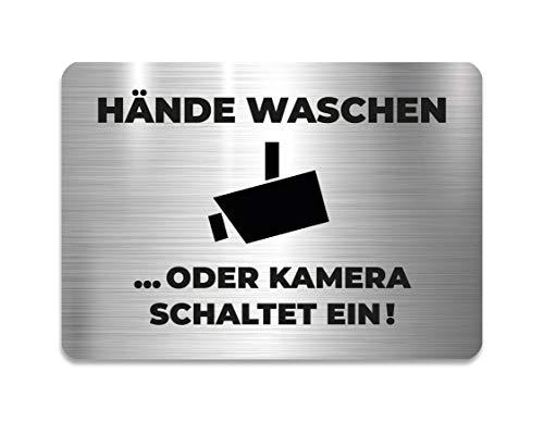 KaiserstuhlCard Bad WC Schild Hände waschen oder Kamera schaltet EIN 14,8 cm x 10,5 cm Toilette selbstklebend Aufkleber Hinweis Türschild Tür Haus Büro Praxis Geschäft Sitz Zubehör