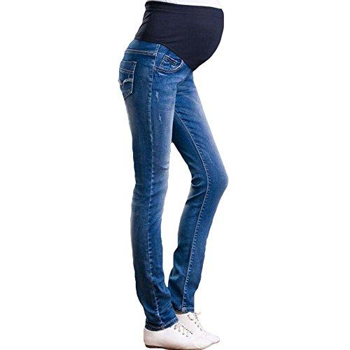 mama stadt Schwangerschaftsjeans Umstandsjeans Skinny Schwangerschaftshose Jeans Umstandshose mit verstellbarem Überbauchbund Umstands Hose Winter Leggings