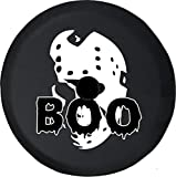 556 Gear JL Spare Tire Cover Boo Jason Scary Mask Halloween Spooky Haunted Horror Afraid Holiday JL Tire Cover with Backup Camera Hole (Fits: JL Accessories) Black Size 33 Inch