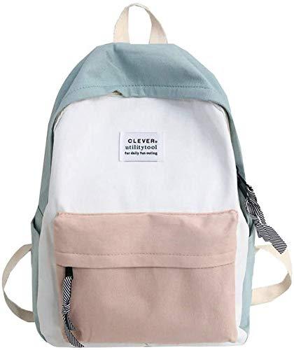 Bolsas Escolares Juveniles Niña Clásico - Estilo Japonés Mochila Escolar, Simple Estilo Europeo, Popular Versión Coreana - Bolsa para/Mujeres/Estudiantes/Viajes (Verde)