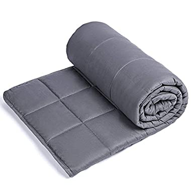 Sivio Weighted Blanket for Adults (15 lbs for 100-150 lbs Individuals), Great for Fall Asleep Faster and Sleep Better, Reduce Anxiety, Autism, Sensory Processing Disorder (48  x 72 , Dark Gray)