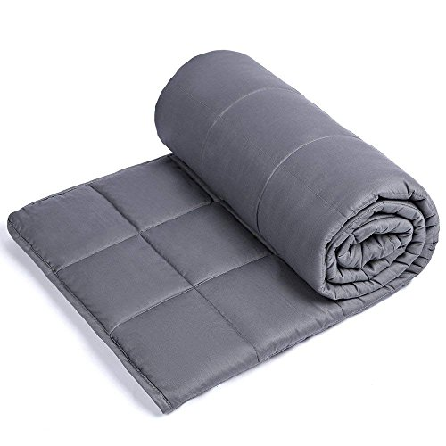 Sivio Weighted Blanket (60' x 80', 20lbs for 190-240lb Individual, Grey) for Adults | 100% Cotton Material with Glass Beads | Great for Relaxing