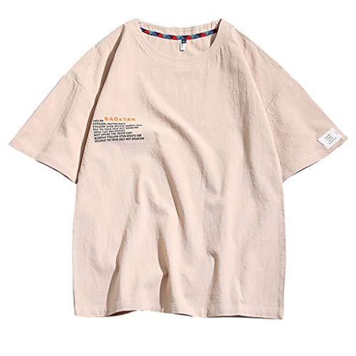 Daysing Herren Tops Internet Herren Shirt v Ausschnitt Weiss männer Shirts Sommer Herren Tops Internet Slim fit Rollkragen Langarm(,(Beige,XX-Large