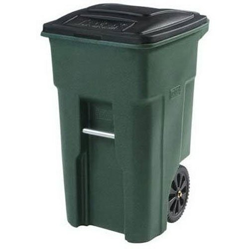 Toter 79232-R2968 32 Gallon Greenstone Trash Can with Wheels and Attached Lid