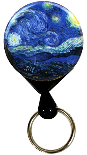 Buttonsmith Van Gogh Starry Night Retractable Key Reel with Belt Clip and 24 inch Heavy Duty Cord - Made in The USA, 1 Year Warranty