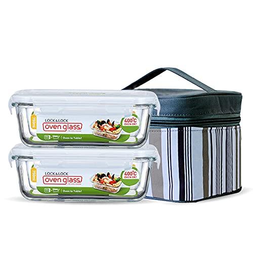 Contenedores de Almacenamiento de Vidrio para Alimentos con tapa, recipiente cuadrado de cristal para microondas, aislante térmico, congelador para microondas, 2pcs, 750ml