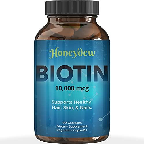 Biotin 10000mcg for Hair Skin and Nails - Honeydew Biotin Hair Vitamins for Faster Hair Growth and Nail Care - Vitamin B7 Biotin Hair Growth Vitamins for Women and Mens Hair Loss - 90 Veggie Capsules
