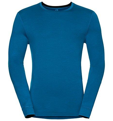 Odlo Shirt l/s Crew Neck Natural 100% Merino sous-vêtement Homme, Bleu/Noir, XXL