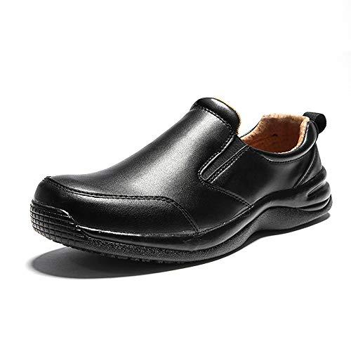 FREEUP Leichte Küchenarbeitsschuhe Küchenchef Schuhe rutschfeste Wasserabweisende Anti-Säure und Alkali-Schuhe,Black,42EU