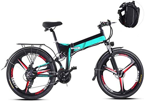 WJSWD Bicicleta eléctrica de Nieve, Bicicletas 26 Pulgadas eléctricos, 48V 10.4Ah Montaña Boost Bicicletas Hombres Mujeres Bike Batería de Litio Playa Cruiser para Adultos (Color : Green)