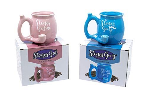Cascade Goods Stoner Guy and Stoner Gal, Large 21oz Novelty Coffee Mugs, Wake and Bake Bundle with Colorful Packaging