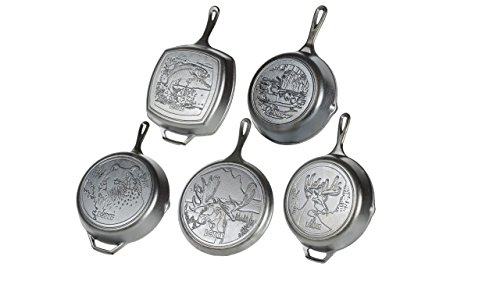 Lodge Wildlife Series - Seasoned Cast Iron Cookware. Wildlife Scenes. 5 Piece Iconic Collector Set Includes 8 inch Skillet, 10.25 inch Skillet, 12 inch Skillet, 10.5 inch Grill Pan, 10.5 inch Griddle