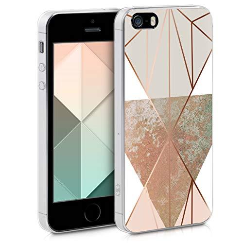 kwmobile Hülle kompatibel mit Apple iPhone SE (1.Gen 2016) / 5 / 5S - Handyhülle Silikon Hülle - Glory Dreieck Beige Rosegold Weiß