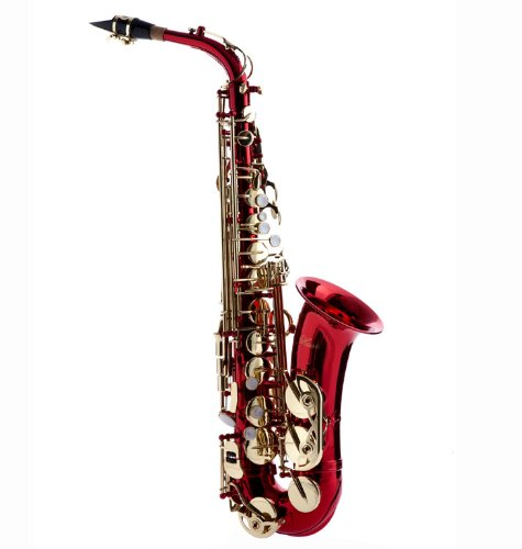 Hawk WD-S416-RD Student Alto Saxophone with Case, Mouthpiece and Reed, Red