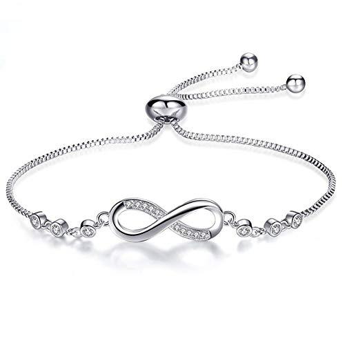 Pulsera de mujer, pulsera de cristal ajustable, pulsera de plata chapada en platino, pulsera de circonita cúbica, regalo de cumpleaños de aniversario para mujer