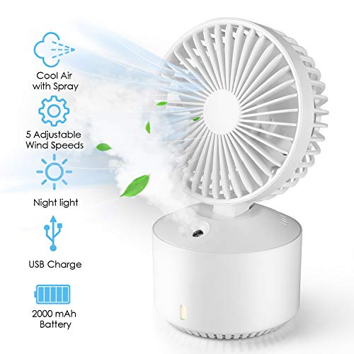 amzdeal Luftkühler Mini tragbare Klimaanlage, 5 einstellbare Geschwindigkeiten und 2 Befeuchtungsmodi, 2000mAh Batterie USB-Ladung, Mini Luftkühler 2 in 1 Lüfter und Luftbefeuchter