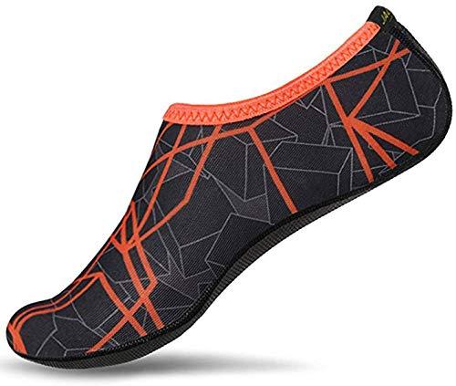 JACKSHIBO Herren Damen Barfuß Wasser Schuhe Unisex Aqua Shoes für Strand Schwimmen Surf Yoga, Erwachsene L=235-250MM, Dark Orange