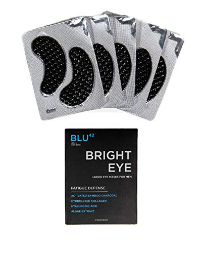 Activated Charcoal Under Eye Masks For Men by Blu42 - Bright Eye Fatigue Defense Eye Patches, Removes Dark Circles, Wrinkles, and Puffiness - Hydrating, Anti-Aging, Anti-Wrinkles - 5 Treatments