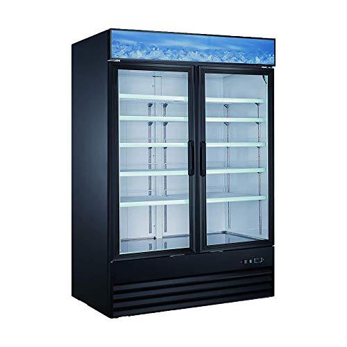 Xiltek Double Door Upright Commercial Display Freezer - Large Capacity Glass Door Merchandiser Freezer 45 CU Ft