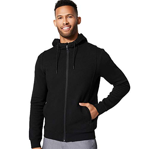 FIGS Men's Essential Hoodie 2.0 Ridiculously Soft Athletic Fit Sweatshirt with a Professional Look, Funnel Neckline and Cozy Hood, Black, Large