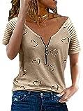 Chvity Women's Summer Short Sleeve V Neck Zipper T-Shirt Casual Loose Fit Printing Striped Blouse Tops Khaki