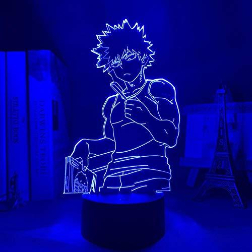 Luz nocturna 3D de Bakugo My Hero Academia para Dormitorio Decoración Regalo de Cumpleaños Manga Gadget My Hero Academia Katsuki Bakugo Lámpara Anime ZGLQ