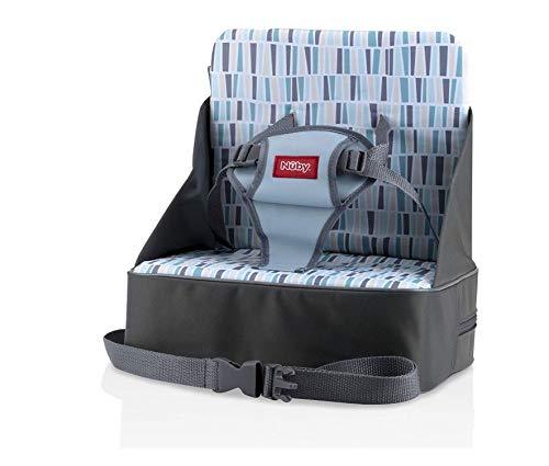 Nuby - Booster seat Sitzerhöhung für Reisen, faltbar, Reisetasche verwandelt sich in Boostersitz, mit Platz für Flaschen, Windeln und mehr, mehrfarbig