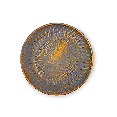 Flanacom Premium Dekoschale aus Holz - Tisch-Deko mit Verzierungen - Design Holz-Schale - Wohnaccessoires - Robustes Deko-Tablett - Obst-Schale - Moderne Deko Wohnzimmer - ca. 28 x 28cm - Grau Gold