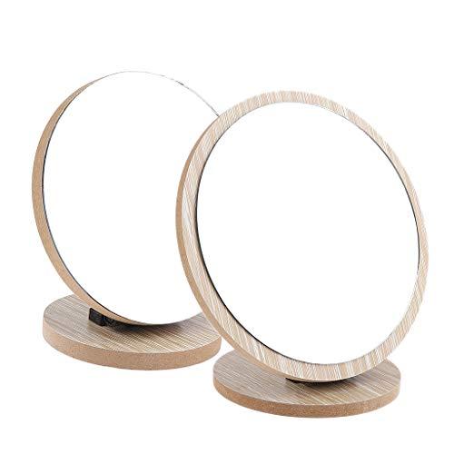 Fenteer 2x Miroir de Vanité de Maquillage Support De Table Miroir de Voyage Réglable à 360 Pliable Portable pour Voyage