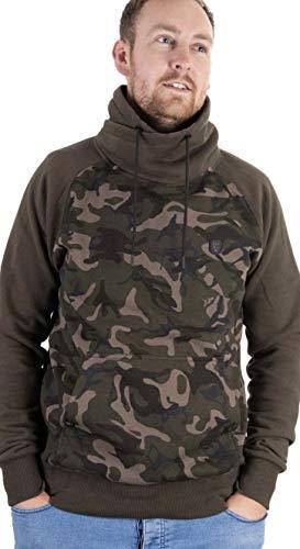 Fox Khaki / Camo High Neck Pullover - Angelpullover zum Karpfenangeln, Angelkleidung für Karpfenangler, Hoodie für Angler, Größe:XXL