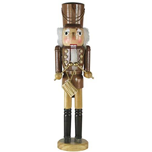 OBC-Kunsthandwerk Nussknacker Figur groß XL / 50 cm/Trommel braun/Deko Figur Nussknacker Holz/handbemalt im Erzgebirge Stil/weihnachtlich dekorieren