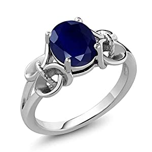 925 Sterling Silver Blue Sapphire Women's Ring