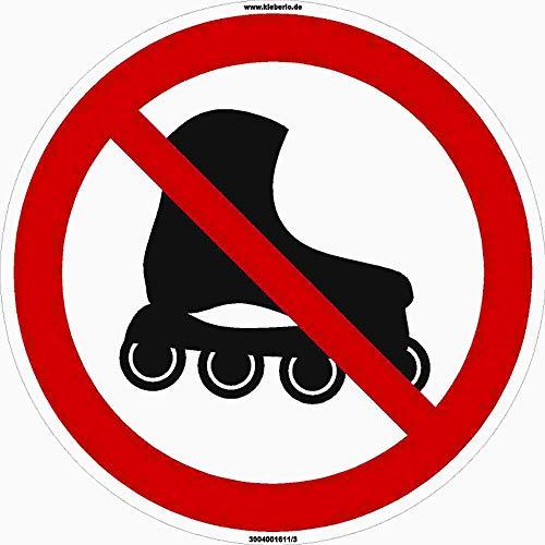 Kleberio® 1 Selbstklebender PVC Aufkleber 100 mm 10 cm Inliner & Rollschuhe verboten! für Innen & Außen geeignet Piktogramm Hinweis Aufkleber