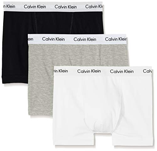 Calvin Klein 3P Trunk, Bóxer para Hombre, Multicolour (Black/White/Grey...