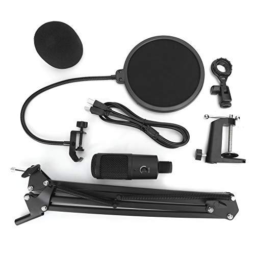 Microfone condensador, kit de áudio de microfone condensador, conveniente USB ferro de alta precisão baixo ruído para computador de mesa