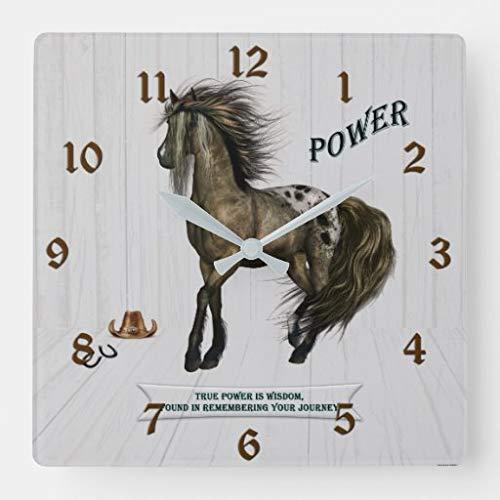 Kysd43Mill Reloj de pared cuadrado de madera con diseño de caballos de poder, decoración para sala de estar, habitación de niños, niñas y niños, 30,5 cm
