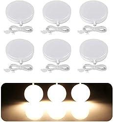 LE Lighting EVER Lampe LED 2W, Blanc Chaud, pour Placard, Meuble de Cuisine, Vitrine, Armoire, Exposition, Lot de 6 [Classe énergétique A+]