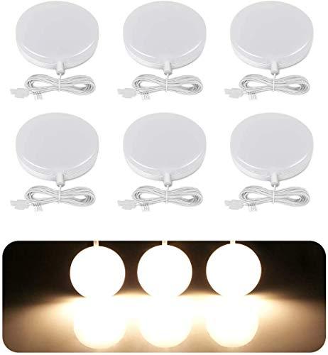 LE Luces de Cocina Debajo del Gabinete Regulable 1020 lúmenes, Luz Foco LED Redondo Blanco Cálido 12W, Control Táctil, Ángulo de Haz 120°, Luz de Gabinete para Armario, Vitrina y Más, Paquete de 6