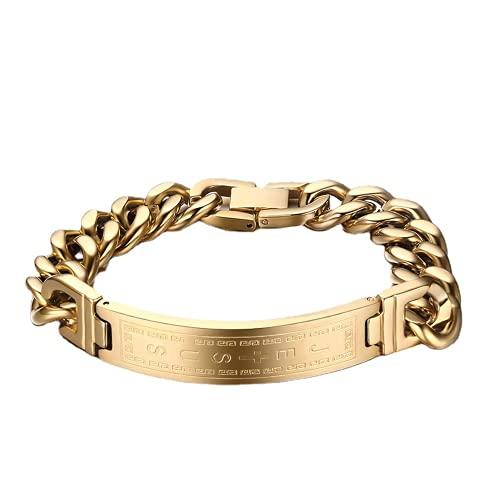 USUASI Hombres Cool titanio acero pulsera moda clásico acero /oro, Jesús cruz/pulsera enlace cadena pulsera brazalete BR-048 12MM*210MM dorado