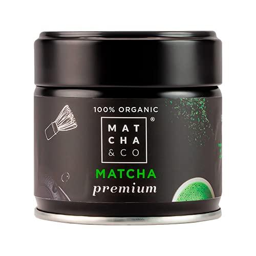 Té Matcha Premium 100% Ecológico 30g [Grado Premium Ceremonial]. Té Verde en polvo Orgánico de Japón. Té Matcha Grado Ceremonial Orgánico. Té Verde Matcha Premium 100% Natural. Matcha & CO