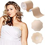 Okela XL Breast Lift Tape for Large Breast, Breathable Bob Lift Tape Athletic Tape Fashion Tape Kinesiology Tape with Reusable Breast Covers Beige