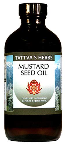 Mustard Seed Oil - Non GMO Unrefined Cold Pressed Soothes Sore Joints, Balances Kapha, Nourishes Hair 16 oz. From Tattva's Herbs