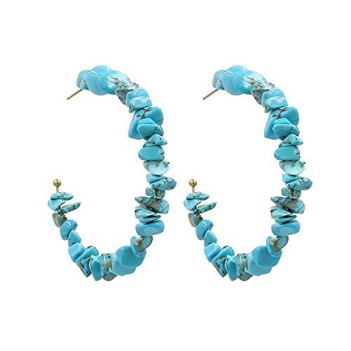 JY Novedad Joyas-Pendientes de mujer Pendientes Pendientes Pendientes de gota Línea de oreja, Pendientes con forma de C étnicos individuales moldeados a mano, Azul, Pendientes de pi