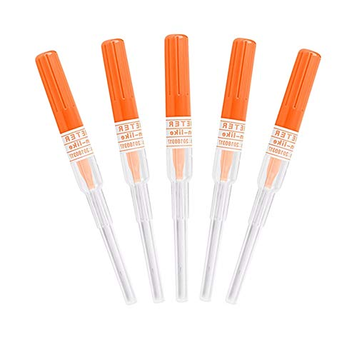 Agujas de perforación de nariz y oreja - SOTICA 5PCS Agujas de perforación de calibre 14G IV Agujas de catéter para perforación Herramienta de perforaciones de tatuaje corporal esterilizada (14G)