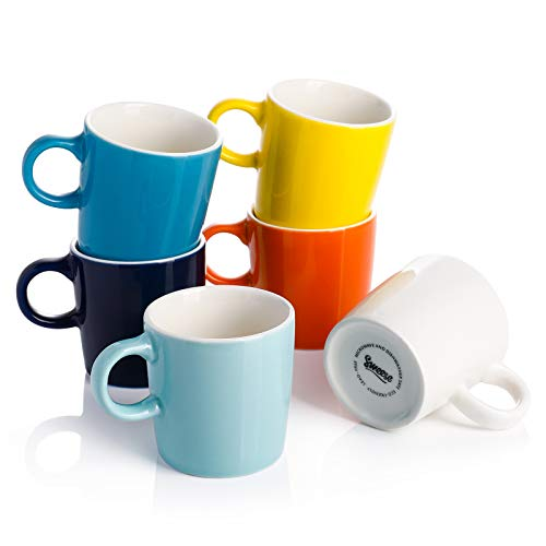 Sweese 409.002 Porcelain Espresso Cups - 3.5 Ounce - Set of 6, Hot Assorted Colors