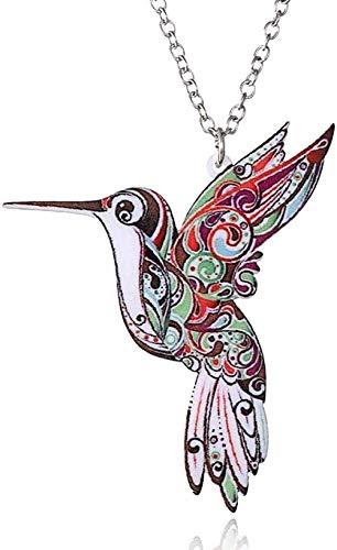 Collar Joyas coloridas Collar con colgante de flores con estampado de acrlico de doble cara para suter de disfraz con regalo de cadena