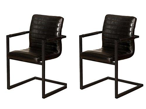 SAM® 2er Set Esszimmerstuhl Parzivo, Kunstleder schwarz, Armlehnstuhl, Schwingstuhl mit Eisen-Fuß